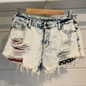 AMERICAN FLAG Jean Shorts Size 30